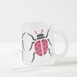 Ladybird Frosted Glass Coffee Mug