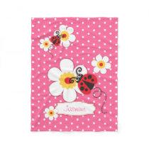 Ladybird ladybug flowers graphic pink name blanket