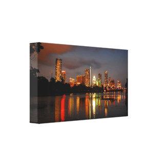 Ladybird Lake Austin Texas Night Skyline Canvas Print