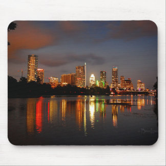 Ladybird Lake Austin Texas Night Skyline Mouse Pad