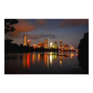 Ladybird Lake Austin Texas Night Skyline Photographic Print