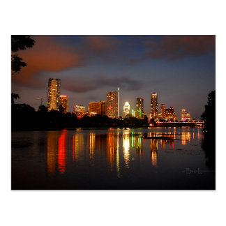 Ladybird Lake Austin Texas Night Skyline Postcard