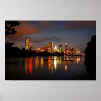 Ladybird Lake Austin Texas Night Skyline Poster