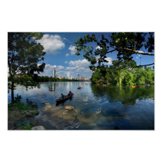 Ladybird Lake / Austin Texas Skyline 3 Poster