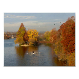 Ladybird Lake Fall Rower - Downtown Austin Texas Poster
