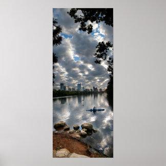 Ladybird Lake Kayak - Skyline - Austin Texas Poster