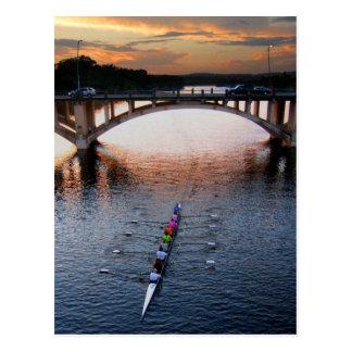 Ladybird Lake Rowing Scull Sunset - Austin Texas Postcard