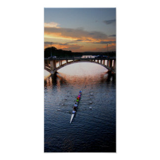Ladybird Lake Rowing Scull Sunset - Austin Texas Posters