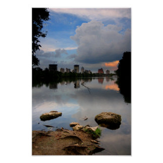 Ladybird Lake Sunrise 1 - Austin Texas Skyline Poster