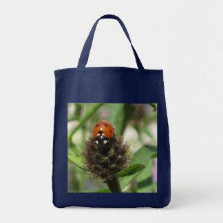 Ladybird On Black Knapweed Grocery Tote Bag