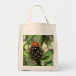 Ladybird On Black Knapweed Organic Tote Bag