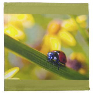 Ladybird on Ragwort flowers napkin set
