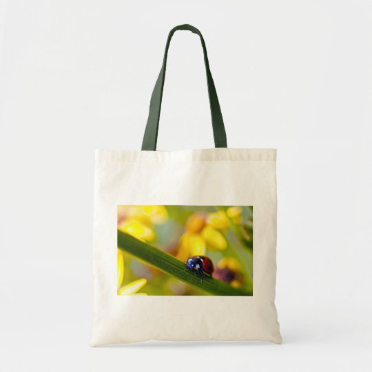 Ladybird on Ragwort flowers tote bag