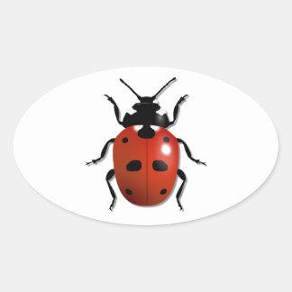 Ladybird Oval Sticker