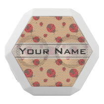 Ladybird Pattern, Bugs on Orange Background White Bluetooth Speaker