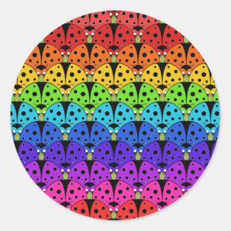 Ladybird Rainbow Classic Round Sticker