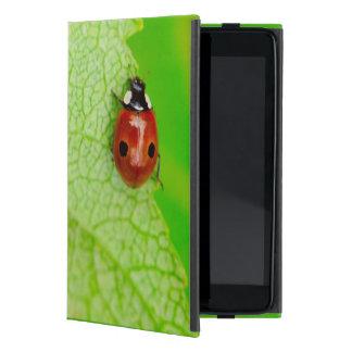 Ladybird walking across a leaf iPad mini cover