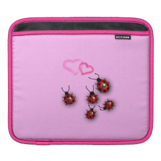 Ladybirds and hearts on pink sleeve for iPads