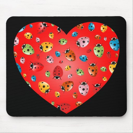 Ladybirds Heart Mouse Pad