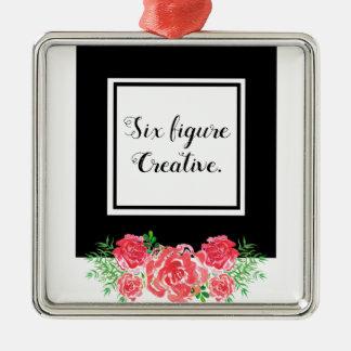 LadyBoss Flowers Adorno Navideño Cuadrado De Metal