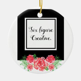LadyBoss Flowers Adorno Navideño Redondo De Cerámica