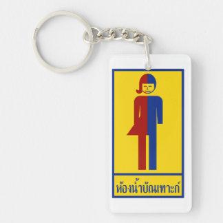 Ladyboy / Tomboy Toilet ⚠ Thai Sign ⚠ Double-Sided Rectangular Acrylic Keychain