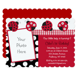 Ladybug 1st Birthday Invitations Announcements Zazzle