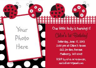 Ladybug 1st birthday invitations zazzle ladybug 1st birthday invitation filmwisefo