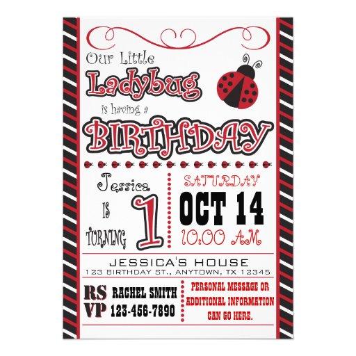 Personalized ladybug invitations custominvitations4u ladybug 1st birthday invitations filmwisefo Gallery