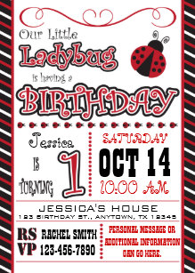 Ladybug birthday invitations zazzle ladybug 1st birthday invitations filmwisefo Choice Image