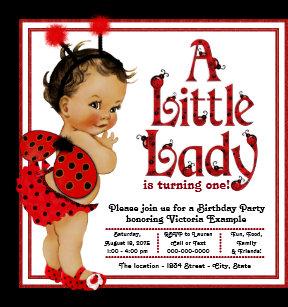 Ladybug birthday invitations zazzle ladybug 1st birthday party invitations filmwisefo