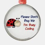 Ladybug-2 Medical Coder Round Metal Christmas Ornament