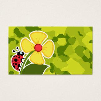 Ladybug; Acid Green Camo; Camouflage Business Card