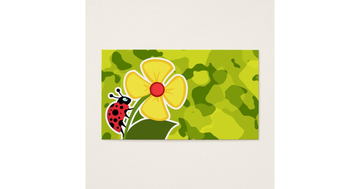 Ladybug; Acid Green Camo; Camouflage Business Card | Zazzle.com