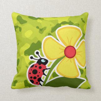 Ladybug; Acid Green Camo; Camouflage Throw Pillows