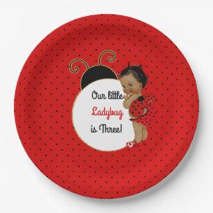 Ladybug African American Baby Girl Red u0026 Black Paper Plate  sc 1 st  Zazzle & Red And Black Ladybug Plates | Zazzle