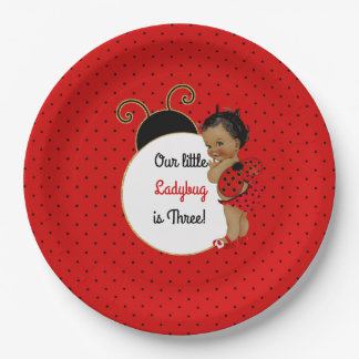Ladybug African American Baby Girl Red & Black Paper Plate