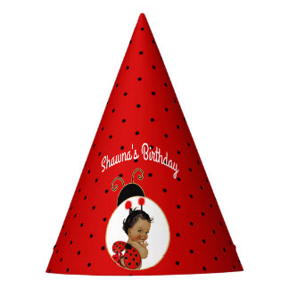 Ladybug African American Baby Girl Red & Black Party Hat
