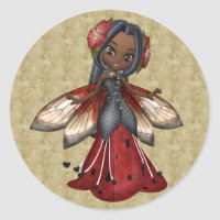Ladybug African American Faerie Party Classic Round Sticker