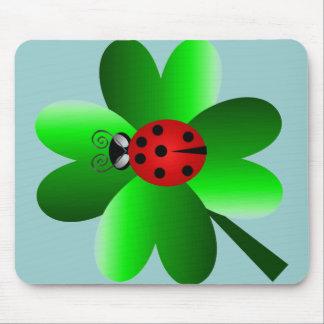 Ladybug and 4 leaf clover mouse pad