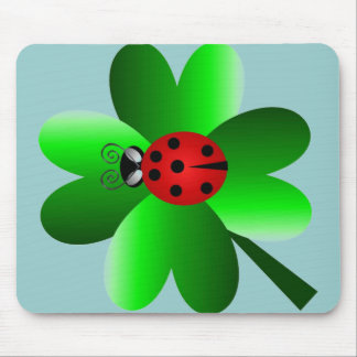 Ladybug and 4 leaf clover mouse pad