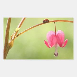 Ladybug and Bleeding Heart Flower Rectangular Sticker