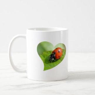 Ladybug and clover coffee mug