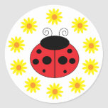 Ladybug and Daisies Sticker