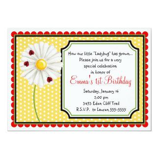 """Ladybug and Daisy Birthday Invitations 5"""" X 7"""" Invitation Card"""