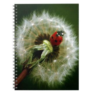 Ladybug And Dandelion Spiral Notebook