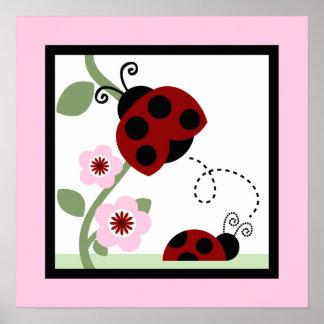 Ladybug and Flower 4 Wall Art Poster
