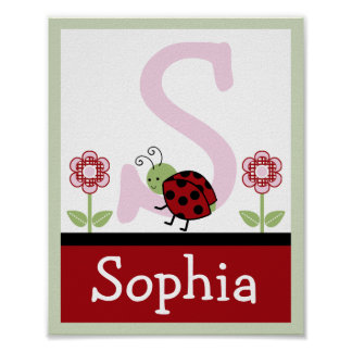 Ladybug and Flower Letter & Name Wall Art Poster