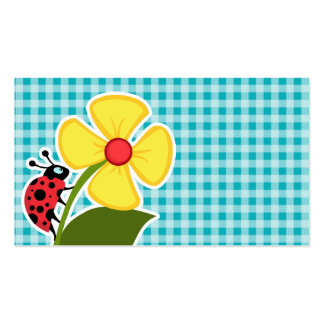Ladybug and Flower on Blue-Green Gingham Business Card