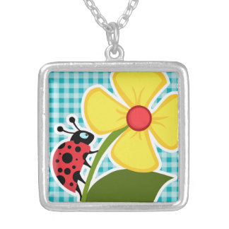 Ladybug and Flower on Blue-Green Gingham Pendant